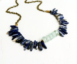 blue and white, spike necklace, and eco friendly image