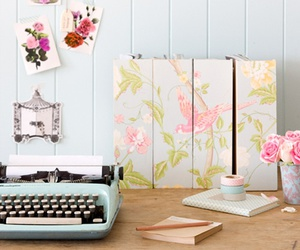 decoration, flowers, and typewriter image