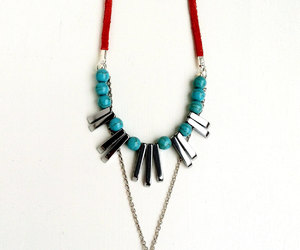 desert, statement necklace, and orange and blue image