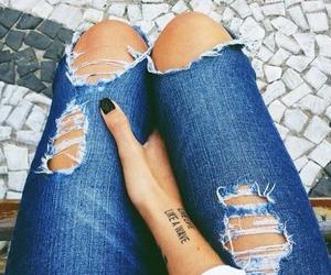 jeans, fashion, and tattoo image