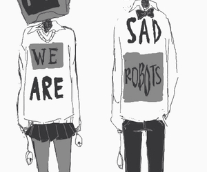 robot, sad, and anime image