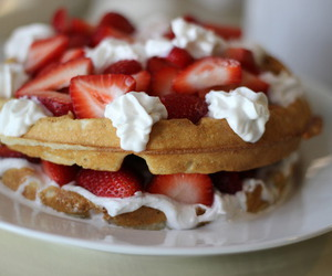 food, strawberries, and waffles image