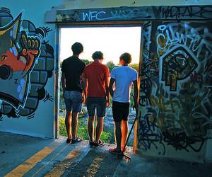 boys, door, and street art image
