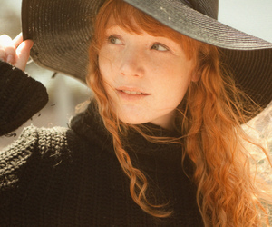 girl, hat, and redhead image
