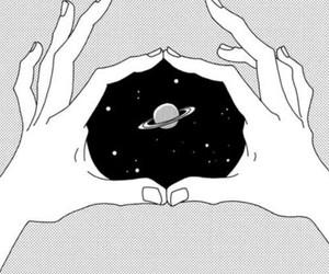 black and white, manga, and hand image
