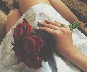 dress, rose, and roses image