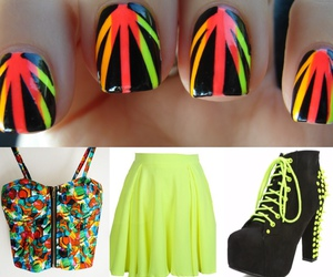 fashion, girls, and neon image