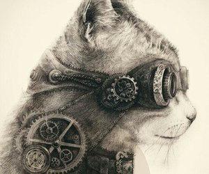 cat, art, and steampunk image