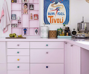 dining room, pink, and kitchen image