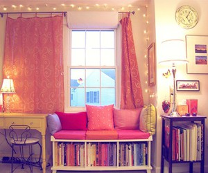 books, pink, and rooms image