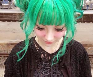 green, goth, and green hair image