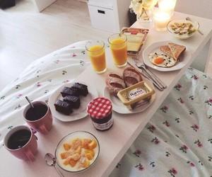 breakfast, bed, and bedroom image