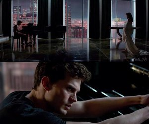 Jamie Dornan, piano, and christian grey image
