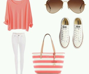 fashion, outfit, and pink and white image