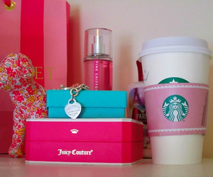 pink, starbucks, and girly image