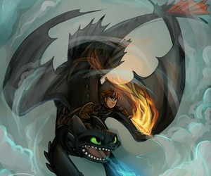 toothless, hiccup, and dreamworks image