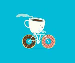 donuts, coffee, and bike image