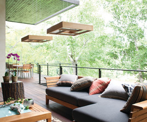 chandelier, contemporary design, and wooden furniture image