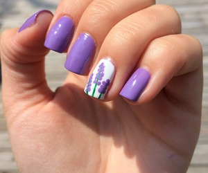 nails, purple, and flower image