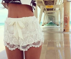 beach, fashion, and lace shorts image