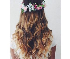 flowers, flower crowns, and hair image