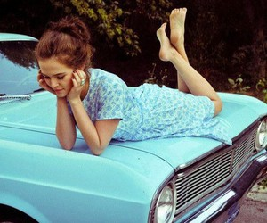 zoey deutch, blue, and car image