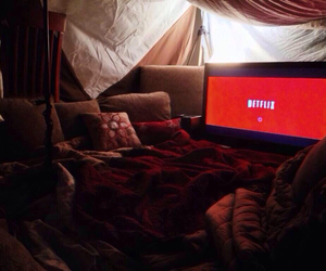 netflix, pillows, and bed image