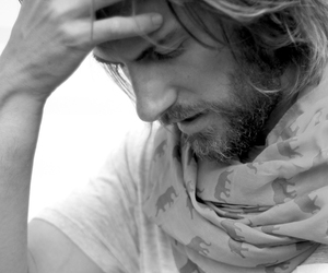 beard, black and white, and guy image
