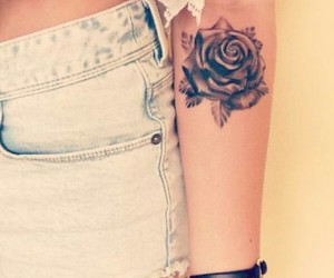 black, rose, and Tattoos image
