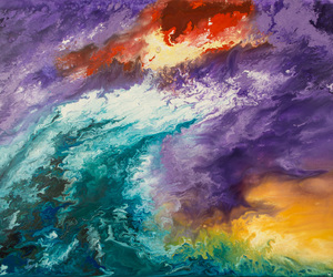 abstract seascape, abstract poured painting, and abstract poured paintings image