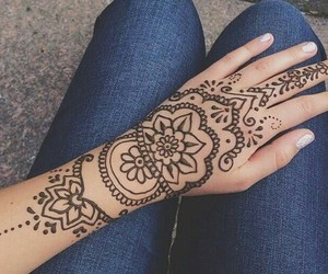 henna, flowers, and hipster image