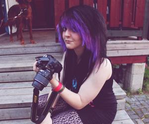 camera, hair, and purple image