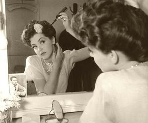 vintage, hair, and mirror image