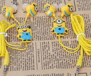 earphones, minions, and cute image