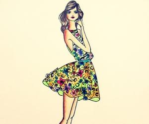 croqui, dress, and fashion image