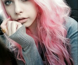 dyed hair, girl, and pink hair image