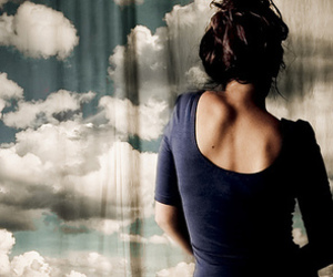 girl, clouds, and sky image