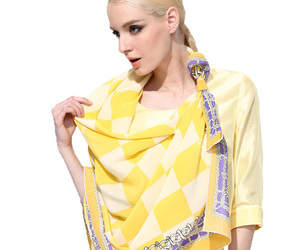 silk long scarves, fashion yellow, and square scarves image