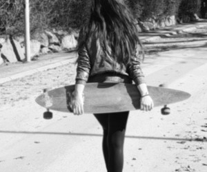 girl, longboard, and black and white image
