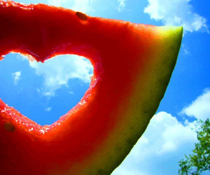 heart, summer, and watermelon image