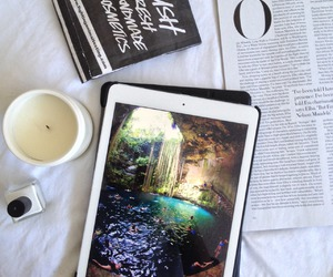 ipad, candle, and lush image