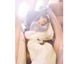 ariana grande, sleeping, and airplane image