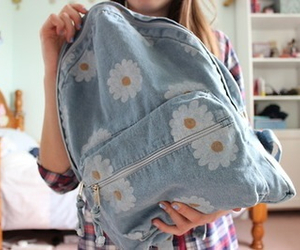backpack, flowers, and bag image
