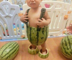 funny, baby, and watermelon image