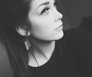 black and white and girl image