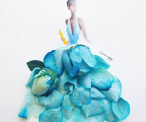 flowers, blue, and dress image