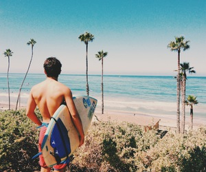 boy, ocean, and palm trees image