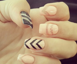 black, cream, and manicure image