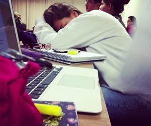 girl, school, and sleep image