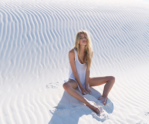 girl, sand, and blonde image